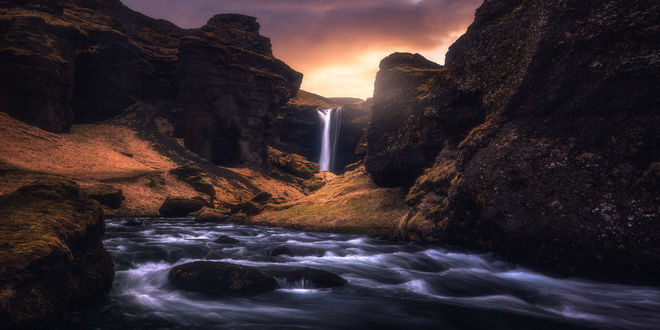 Обои Водопада Kvernufoss, Iceland / Исландия, фотограф Daniel F
