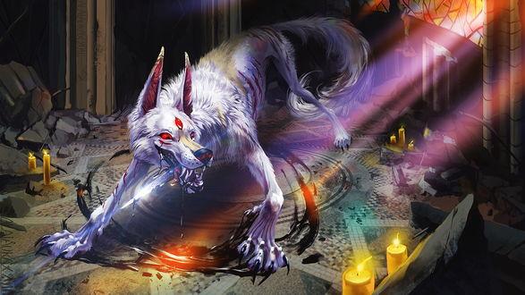 Обои Вызванный магией призрак страшного монстра в окружении горящих свечей, автор Corvum Corax