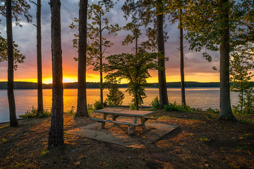 Обои Закат на West Point Lake, Georgia, USA / Озере Запад Пойнт, США, автор David Arbogast