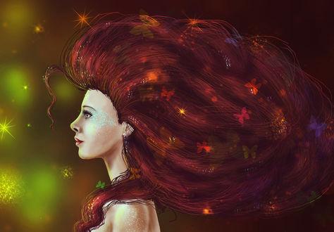 Обои Рыжеволосая девушка, украшенная бабочками, стоит в профиль, by sokolick