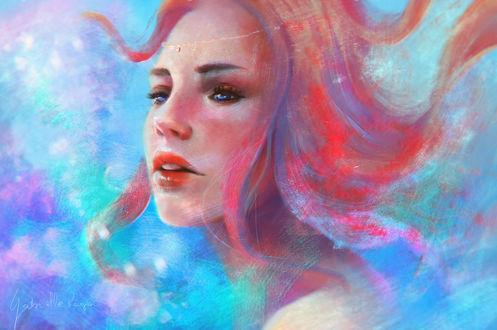 Обои Портрет девушки с красными волосами на голубом фоне, by gabrielleragusi