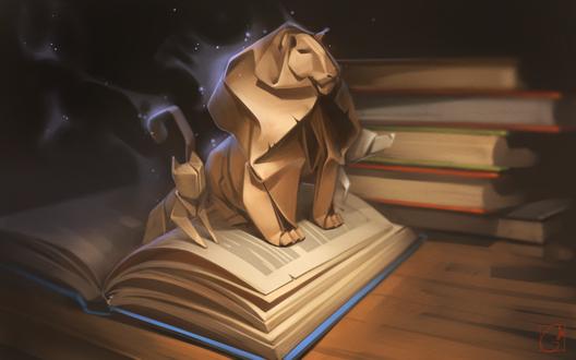 Обои Лев, рысь и волк, сделанные из бумаги, by GaudiBuendia