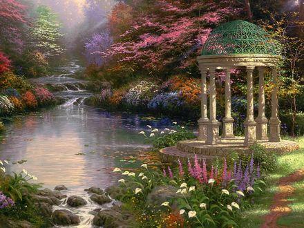 Обои Белая беседка у ручья среди цветущих деревьев