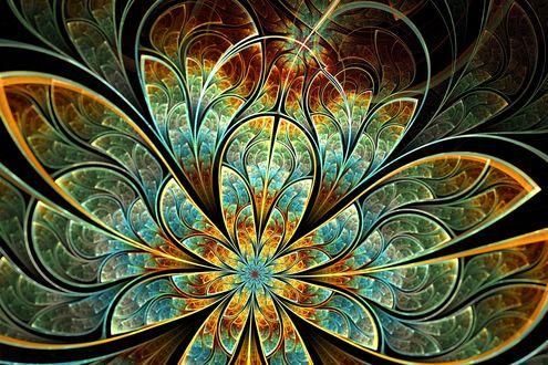 Обои Голубой металлический цветок с круглым лепестками