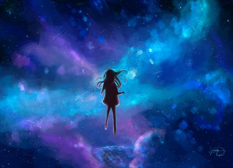 Обои Силуэт девушки, парящей в ночном небе, by Gabrielle Ragusi