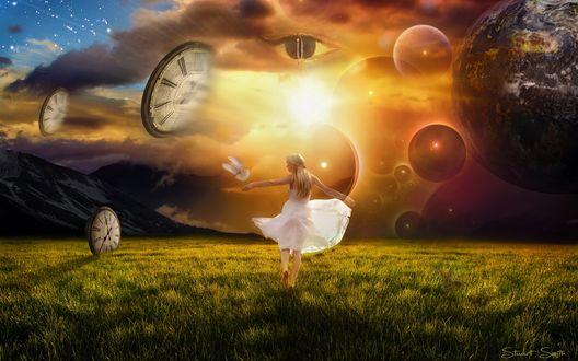 Обои Девушка в белом платье на зеленом поле в окружении парящих в воздухе больших часов и голубем над рукой, by Stuart Smith
