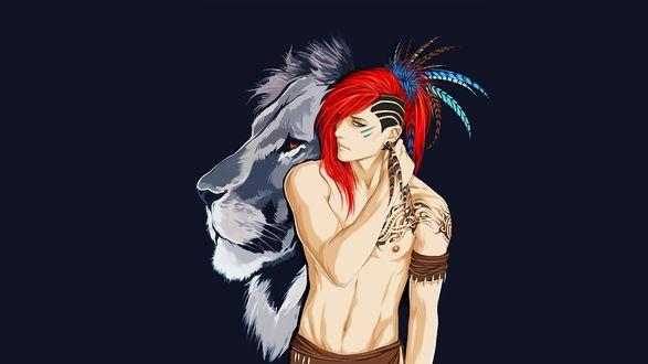 Обои Парень с красными волосами и львом за спиной