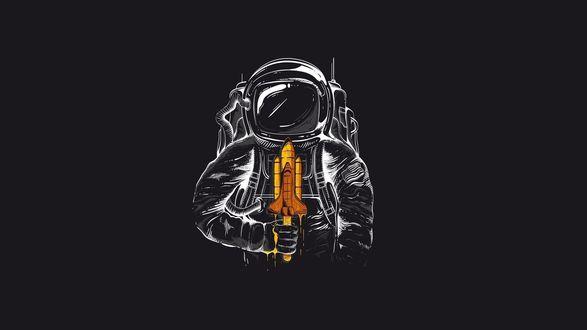 Обои Космонавт с мороженным в виде ракеты на черном фоне