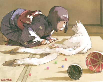 Обои Девушка, одетая в кимоно, стоит на коленях перед белой двуххвостой кошкой, лежащей на полу, by rakugaki