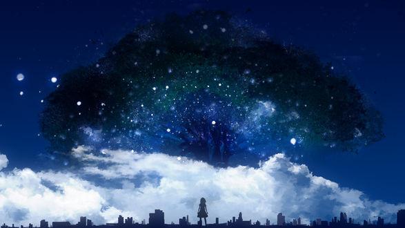 Обои Девушка смотрит на огромное дерево, возвышающееся над облаками, by Y_Y