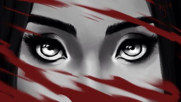 Обои Лицо девушки крупным планом на фоне красной краски, by Xelandra