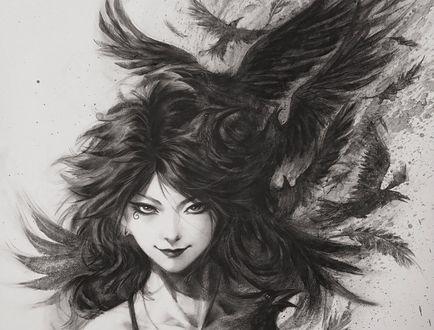 Обои Портрет девушки с волосами, из которых появляются вороны
