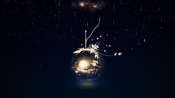 Обои Стеклянный шар, внутри которого космос, на веточке с листьями под золотым дождем, by Y_Y
