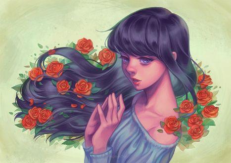 Обои Девушка с розами на волосах, by munette