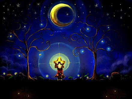Обои Девочка сидит в волшебном лесу на фоне полумесяца луны