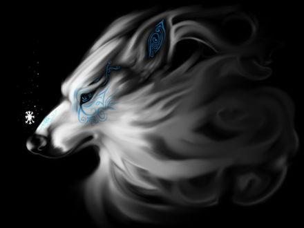 Обои Магический волк с рисунком на морде, автор TehChan