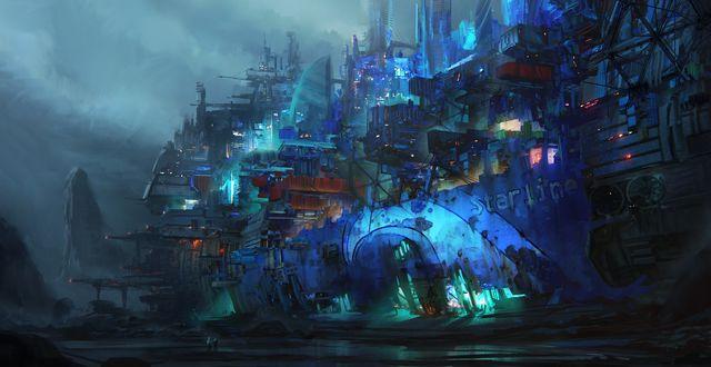 Обои Корабль-крепость Starliner в ночном тумане, art by Leon Tukker