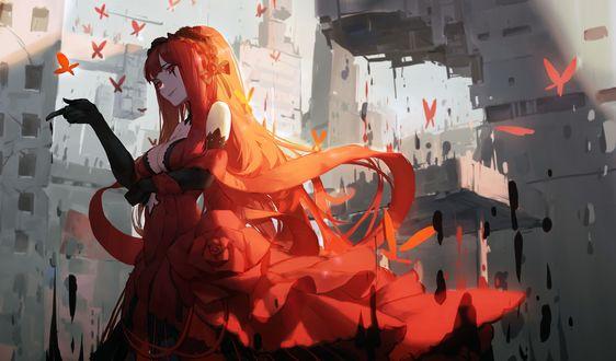 Обои Рыжая девушка в красном платье выпускает красных бабочек на фоне фантастических руин