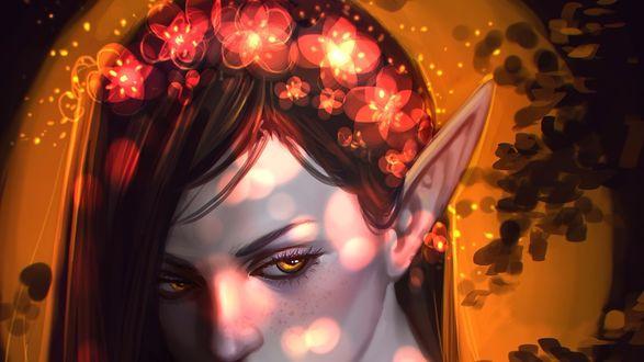 Обои Девушка - лесной эльф в веночке из светящихся цветов, by AyyaSap