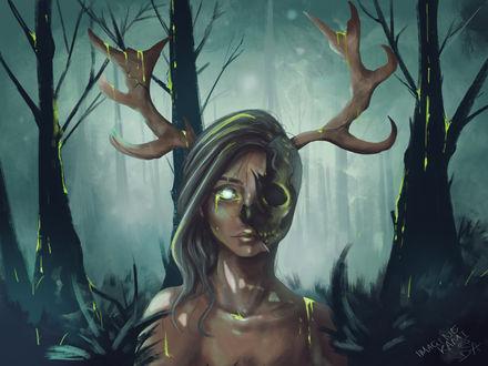 Обои Разлагающая девушка-олень на фоне природы, by ImagineKami