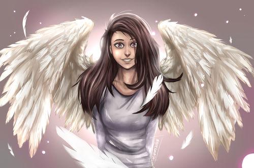 Обои Девушка - ангел на сером фоне, by ImagineKami
