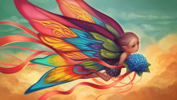 Обои Девушка - эльфийка с букетом голубых цветов, by munette