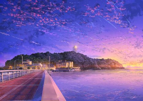 Обои Дорога вдоль моря, ведущая к зданиям, by NIK