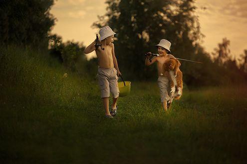 Обои Мальчики с рыжим котом идут на рыбалку, фотограф Любовь Покацкая (Юрченко)