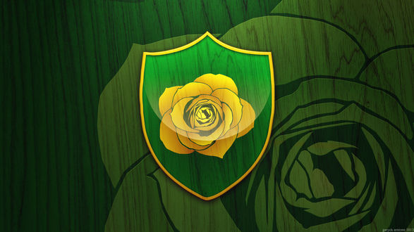 Обои Зеленый герб с желтой розой из сериала Игра Престолов / Game of thrones