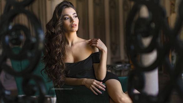 Обои Модель Катя в черном платье с глубоким декольте, фотограф Dmitry Belyaev