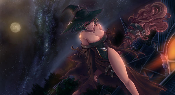Обои Ведьмочка сидящая на мете, на фоне ночного неба, by Claarin