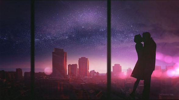 Обои Силуэт влюбленной пары на фоне панорамного окна, с видом на ночной город, художник из Хорватии Martina Stipan