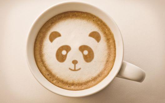 Обои Чашечка кофе с пенкой-пандой