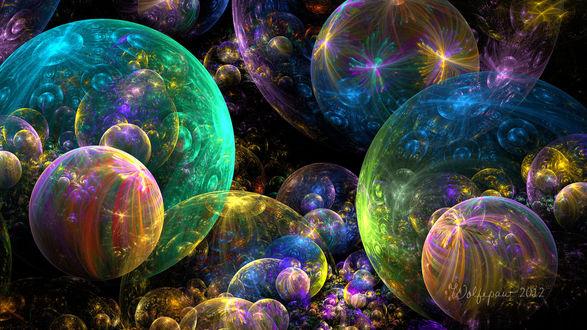 Обои Мыльные пузыри в световых бликах