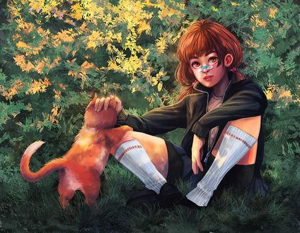 Обои Рыжеволосая девушка сидит на траве и гладит рыжего кота, by fcnjt