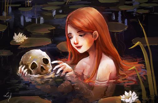 Обои Рыжеволосая девушка в воде держит череп, by Ludmila-Cera-Foce