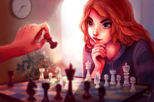 Обои Играющая рыжеволосая девушка с кем-то, by Ludmila-Cera-Foce