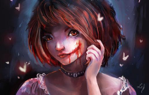 Обои Рыжеволосая девушка с разрезанным ртом, by Ludmila-Cera-Foce