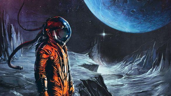 Обои Космонавт на луне