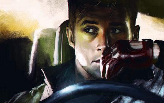 Обои Райан Гослинг / Ryan Gosling за рулем машины