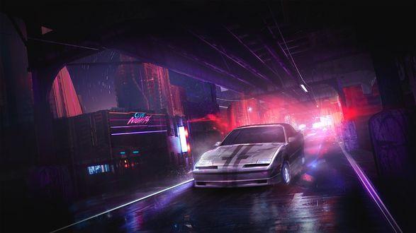 Обои Машина под мостом возле клуба
