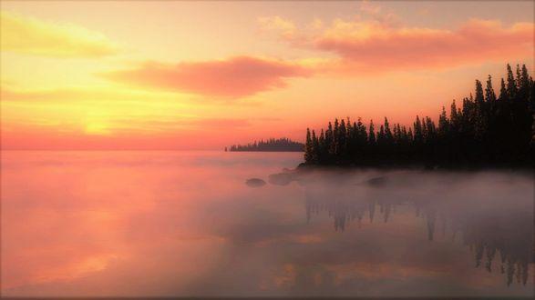 Обои Закатное небо над туманным озером