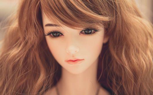 Обои Красивая девушка-кукла с большими глазами