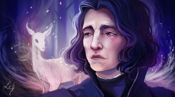 Обои Severus Snape / Северус Снегг со своим патронусом из фильма Harry Potter / Гарри Поттер, by Ludmila-Cera-Foce