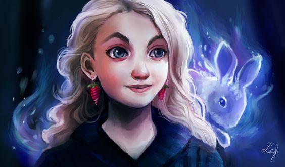 Обои Luna Lovegood / Полумна Лавгуд со своим патронусом из фильма Harry Potter / Гарри Поттер, by Ludmila-Cera-Foce