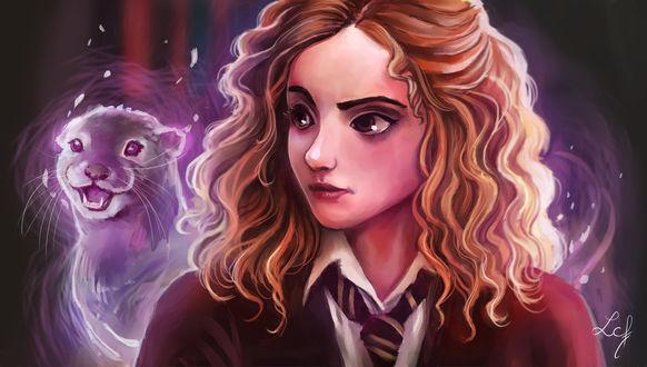Обои Hermione Granger / Гермиона Грейнджер со своим патронусом из фильма Harry Potter / Гарри Поттер, by Ludmila-Cera-Foce