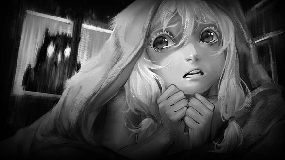 Обои Оля из игры Зайчик прячется под одеялом от монстра, который за окном, by saikono