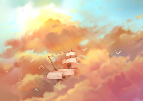Обои Парусник в облаках, by Axle