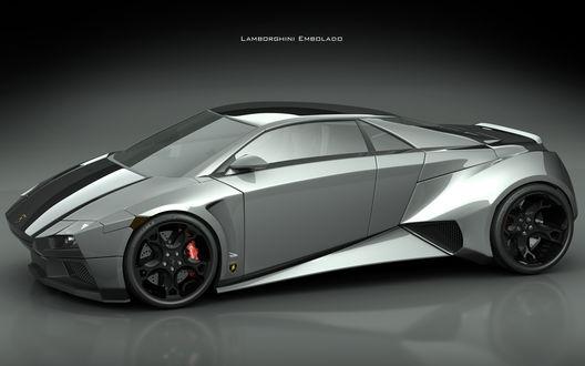 Обои Серебристый Lamborghini Embolado / ламбордини на темном фоне