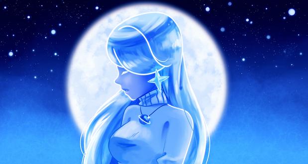 Обои Девушка на фоне полной луны, by freekaboo